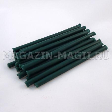 Свечи восковые изумрудно-зеленые 10 см маканые