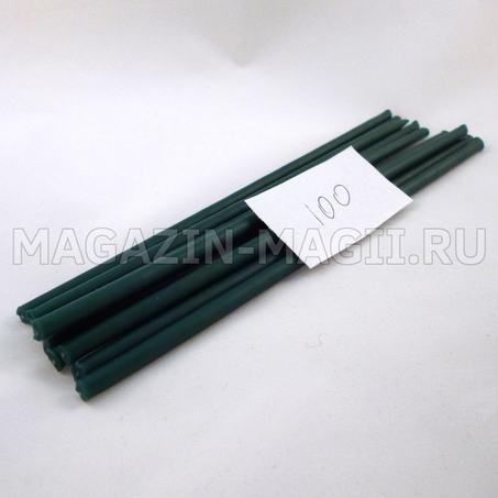 Свечи восковые изумрудно-зеленые №100 маканые