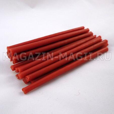 Свечи восковые красные 10 см маканые