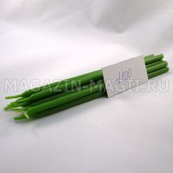 Wax candle green No. 100 (10 pieces, dipped)