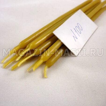 Свечи восковые желтые №100 маканые