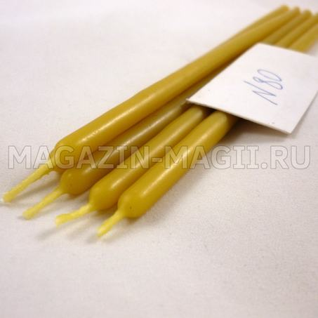 Candle of yellow wax No. 80 dipped
