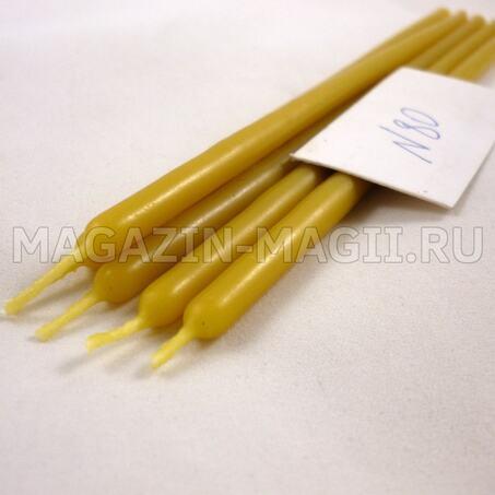 Свечи восковые желтые №80 маканые
